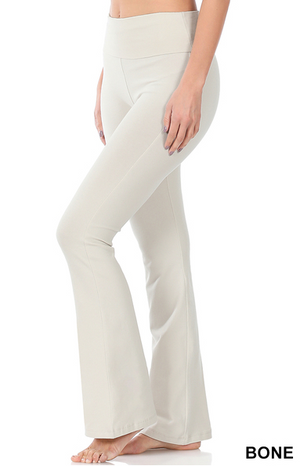 Cotton Fold Over Yoga Pants-Bone