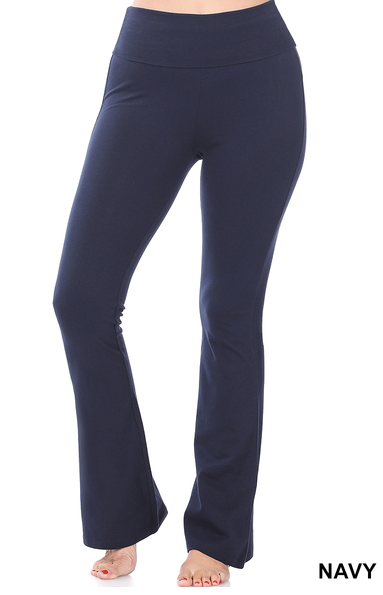 Cotton Fold Over Yoga Pants-Navy