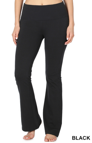 Cotton Fold Over Yoga Pants-Black
