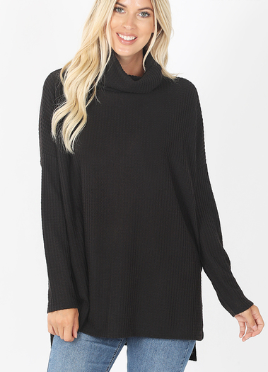 Thermal Waffle Knit Cowl Neck Sweater-Black