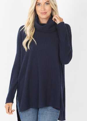 Thermal Waffle Knit Cowl Neck Sweater-Navy