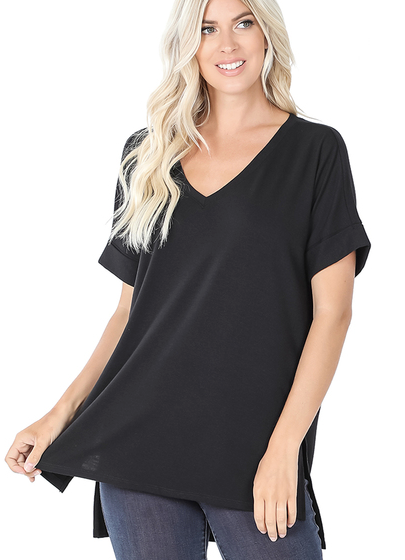 Rolled Sleeve Side Slit Tee-Black