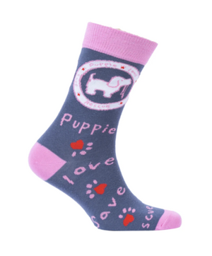 Puppie Love-Pink Logo Crew Socks