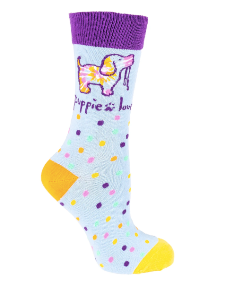 Puppie Love-Tie Dye Pup Crew Socks