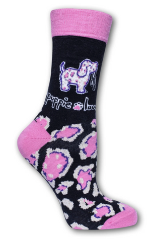 Puppie Love-Pink and Gold Leopard Pup Crew Socks