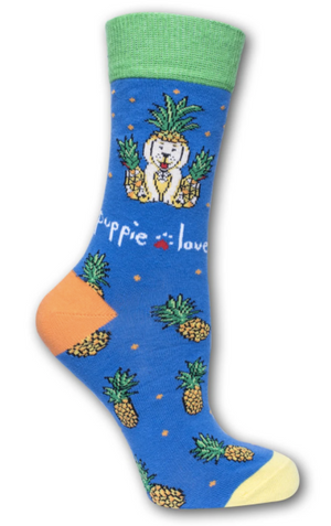 Puppie Love-Pineapple Pup Crew Socks