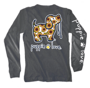 Puppie Love-Sunflower Pup Long Sleeve Tee