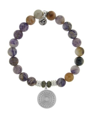 T. Jazelle Sage Amethyst Agate Stone Bracelet with Family Circle Charm