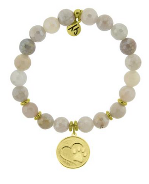 T. Jazelle Moonstone Bracelet with Gold Paw Print Charm