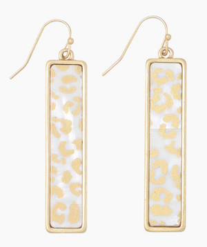 Periwinkle Cheetah and Pearl Bar Earrings