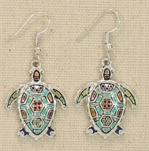 Periwinkle Sea Turtle Earrings