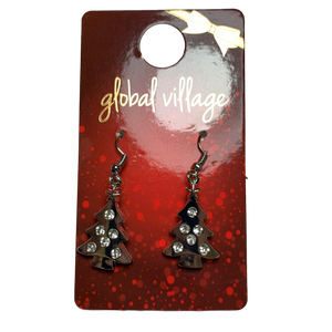 Global Village Silver Tree Earrings