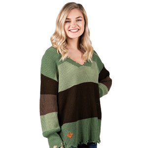 Simply Southern Distressed Sweater Green