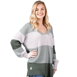 Simply Southern Distressed Sweater Ombre Grey