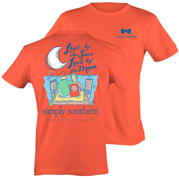 Simply Southern Live by the Sun Love by the moon Coral T-shirt
