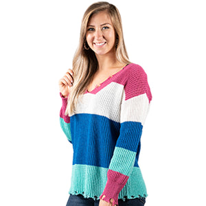 Simply Southern Distressed Sweater Multi