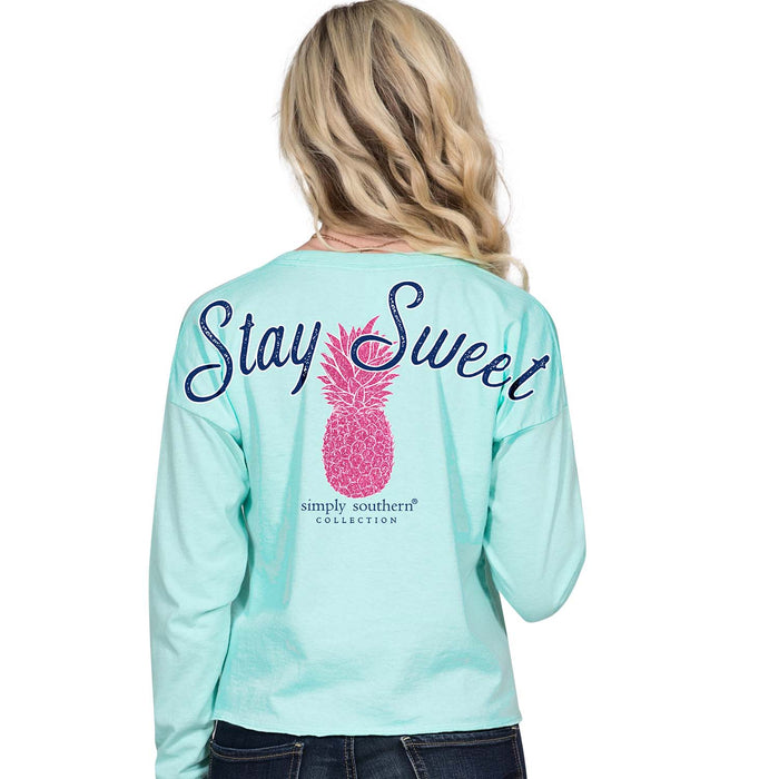 Simply Southern Pineapple CROP TOP Long Sleeve T-Shirt