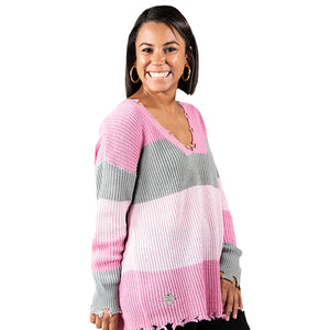 Simply Southern Distressed Sweater Pink and Grey