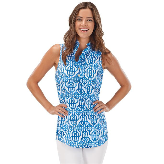 Blue Ruffle Sleeveless Tunic