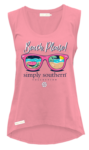 Simply Southern Beach Please Pink Tank Top