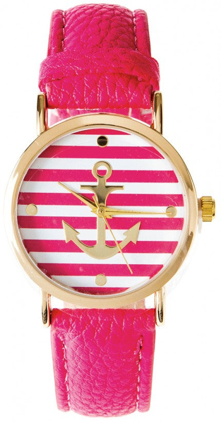 Pink Anchor Stripe Watch