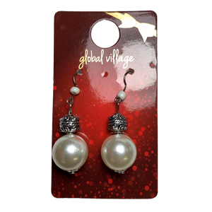 Global Village White Jingle Ball Earrings