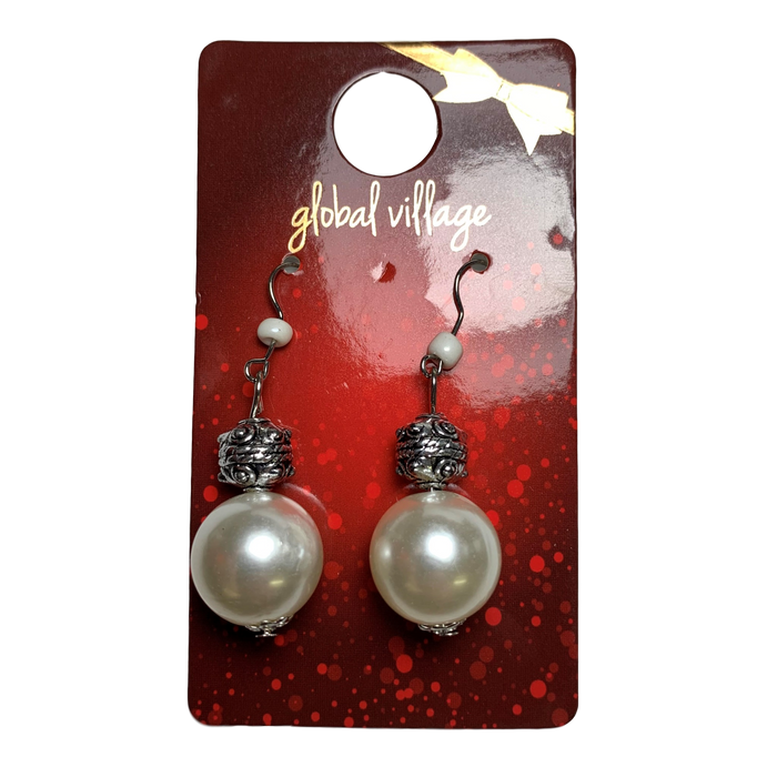 White Jingle Ball Earrings