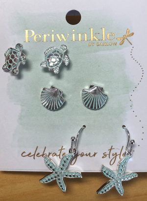 Periwinkle Sea Creatures Earrings Set