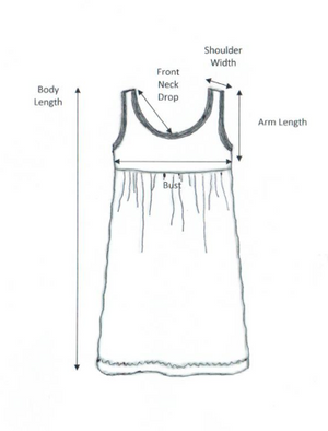 iCantoo Solid Cotton Babydoll Dress Chart