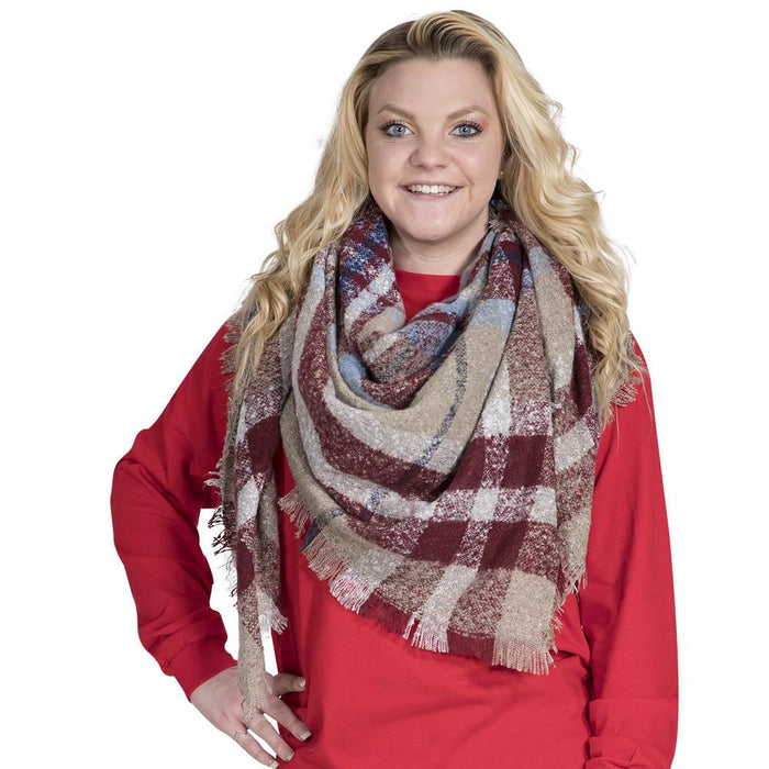 Simply Southern Camel And Red Blanket Scarf