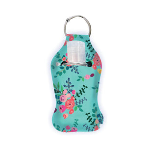 Hand Sanitizer w/ Case-Teal Floral