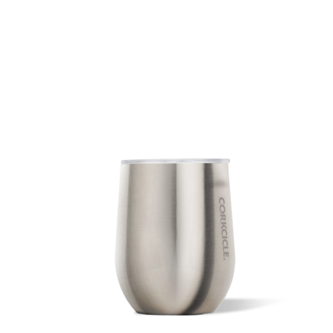 Brushed Steel 12oz Corkcicle Wine Glass