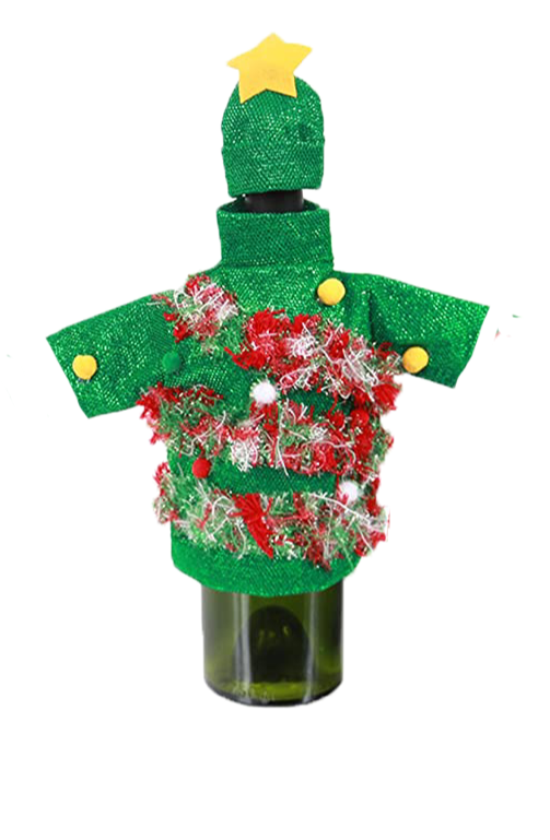 Ugly Sweater Bottle Topper-Tree