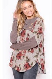 Chris and Carol Grey Floral Button Neck Top