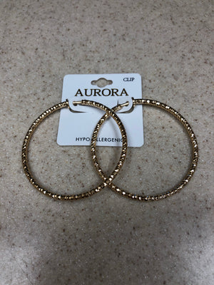 Aurora Gold Clip On Hoop Earrings