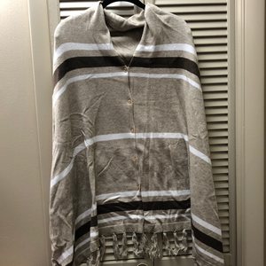 Mudpie Tan and White Striped Poncho