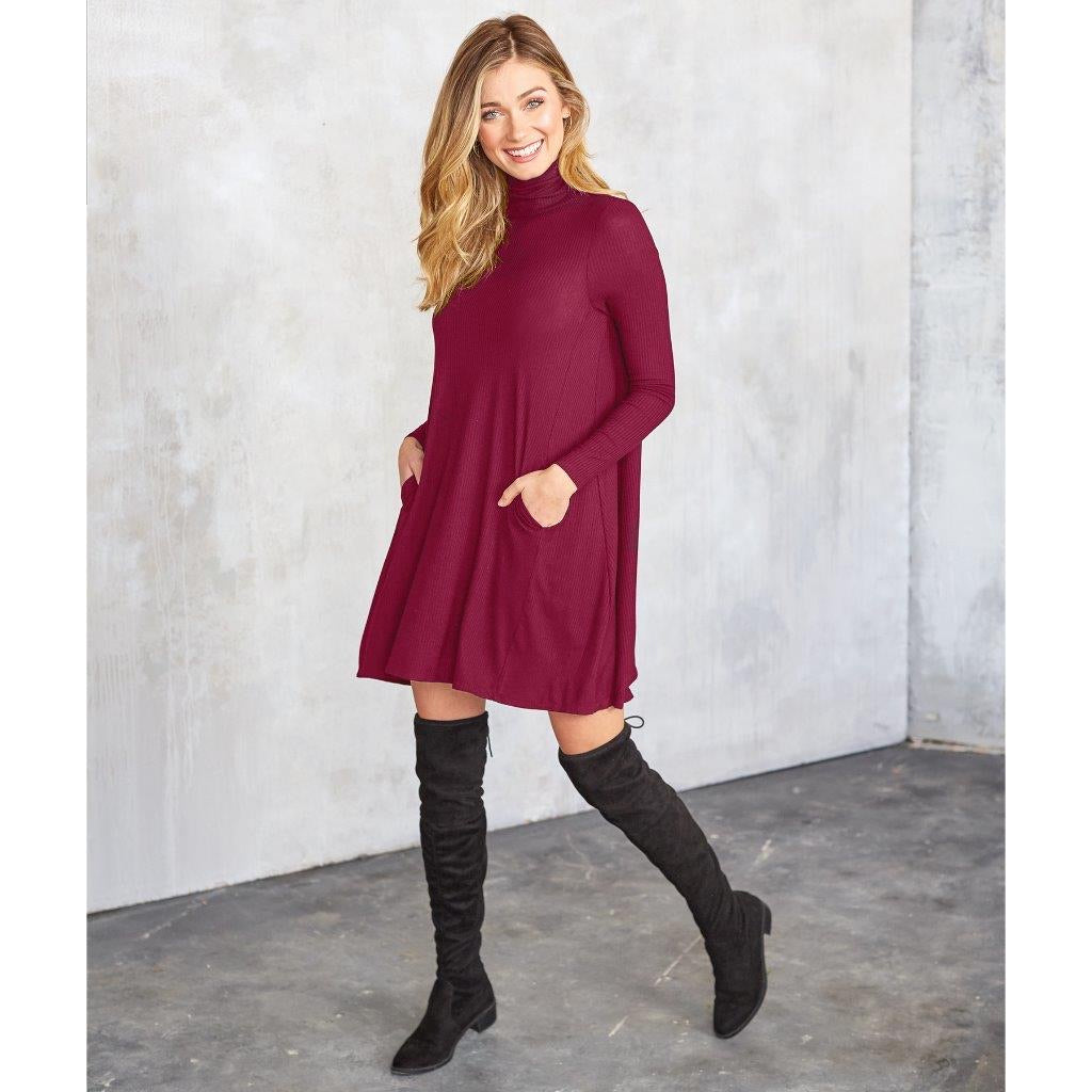 Mudpie Topher Turtle Neck Dress Wine