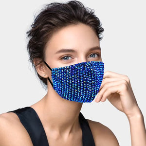 Blue Stone Embellished Face Mask