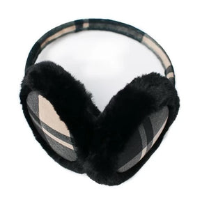 Top It Off Earmuffs- Tan Plaid