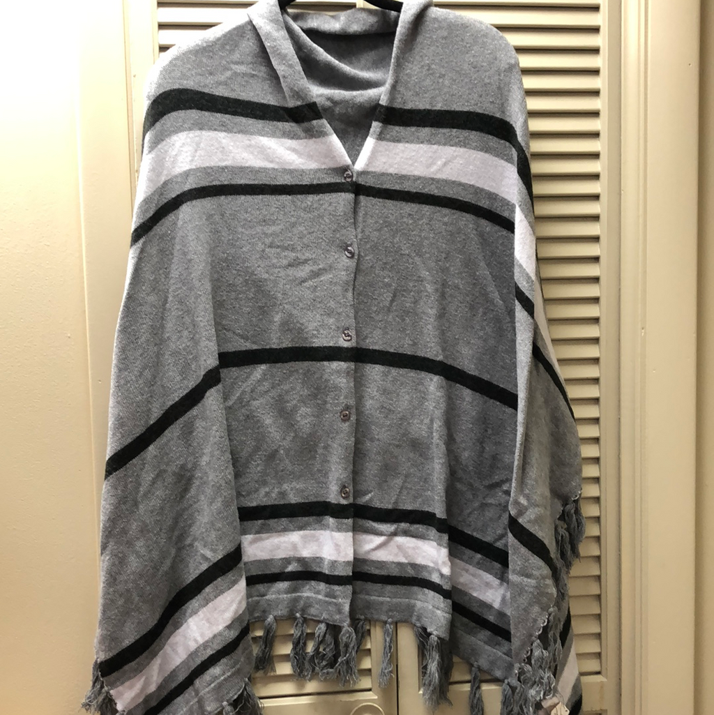 Mudpie Grey and White Striped Poncho