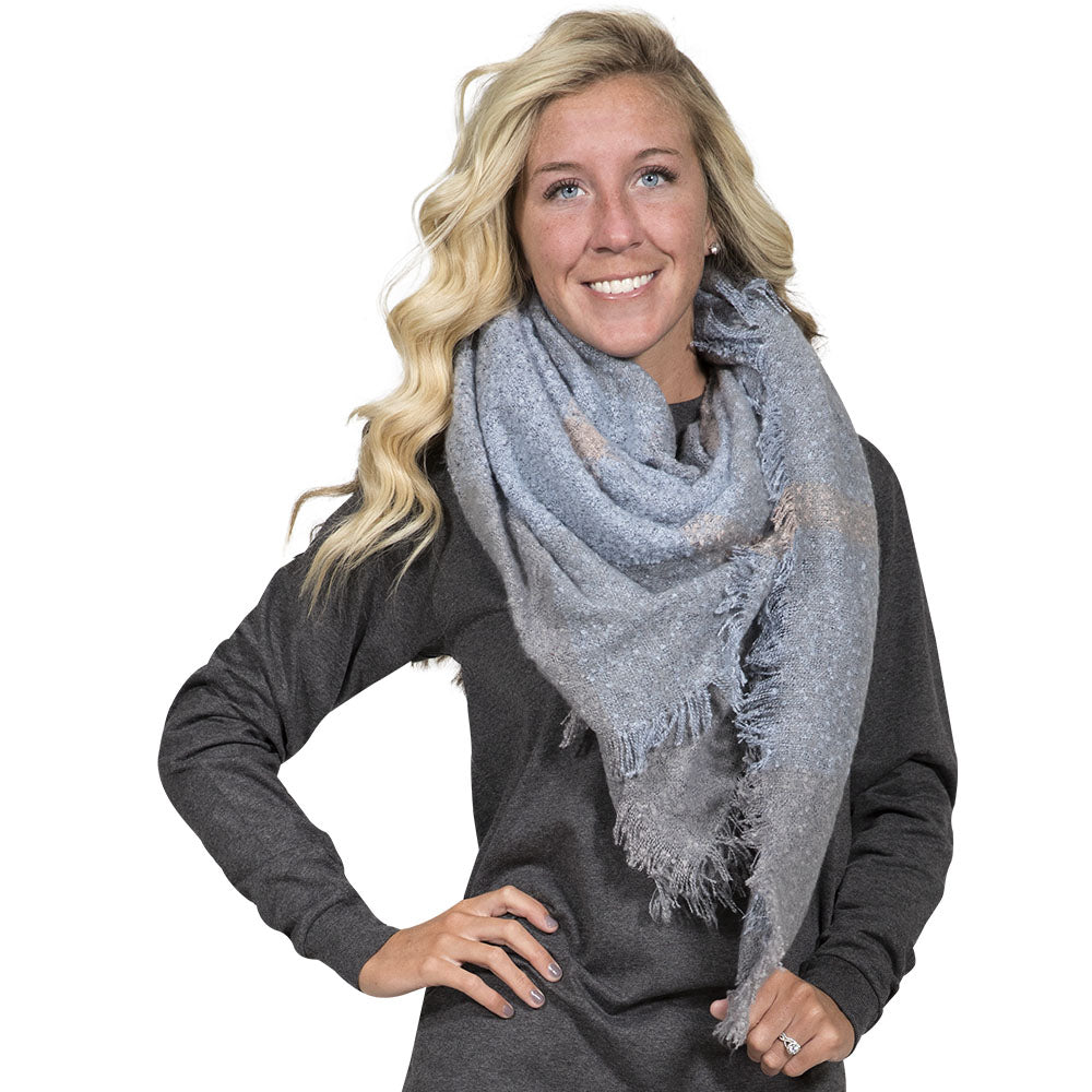 Simply Southern Blue and Grey Blanket Scarf