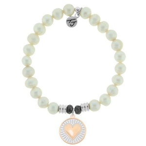 T. Jazelle White Pearl Heart of Gold Bracelet