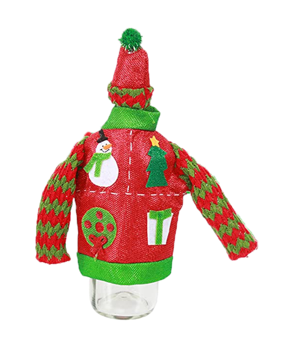 Ugly Sweater Bottle Topper-Red Zig Zag
