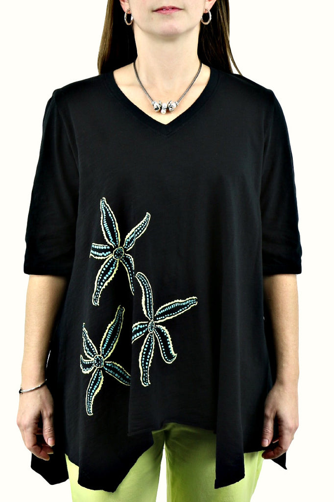 Asymmetric Scoop Neck Black Starfish Tunic
