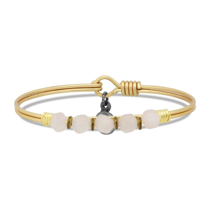 Soul Food Beaded Bangle, Rose Quartz - Luca + Danni