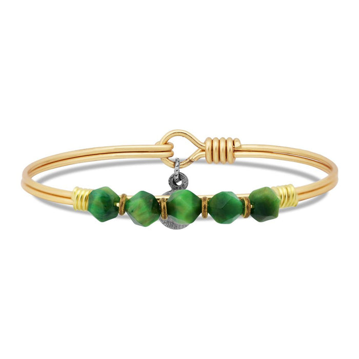Soul Food Beaded Bangle, Green Cat's Eye - Luca + Danni
