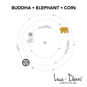 Buddha, Elephant, Coin Trilogy Bangle Luca + Danni card