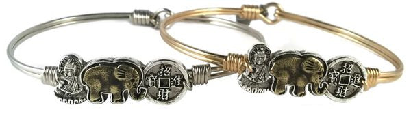 Trilogy Bangle, Buddha, Elephant, Coin - Luca + Danni