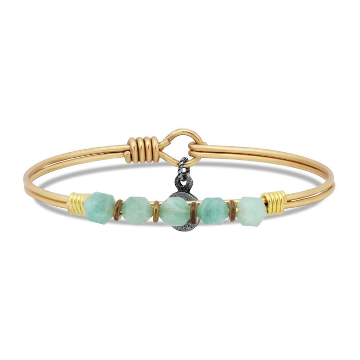 Soul Food Beaded Bangle, Amazonite - Luca + Danni
