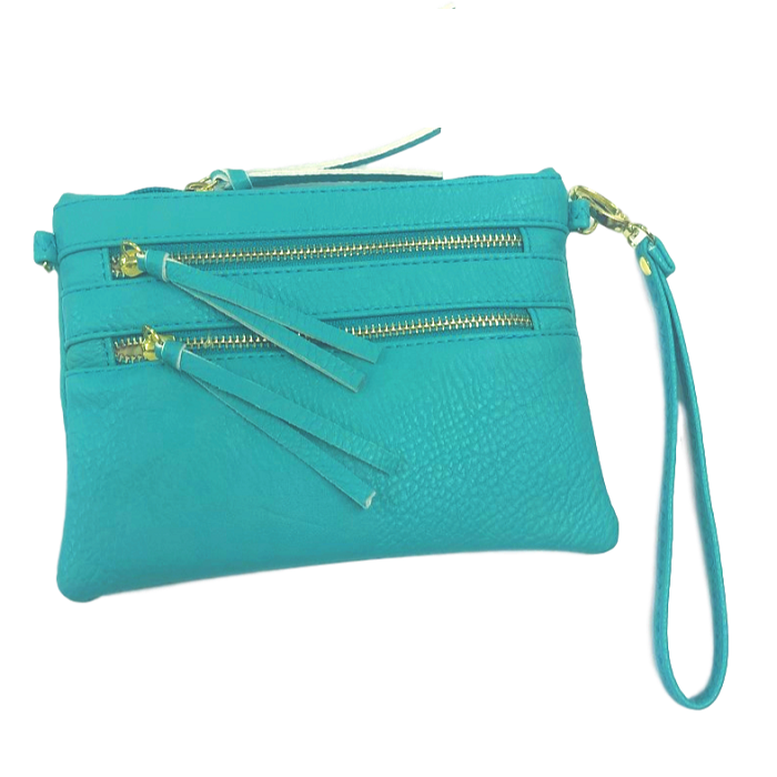 Teal Double-Zipper Leather Wristlet